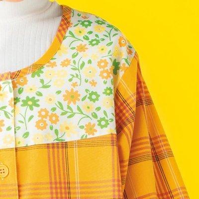 画像1: うさくま   チェックスモック オレンジ