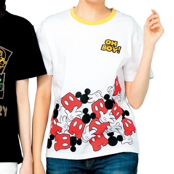 画像1: <ミッキー&ミニー>プリントTシャツ ミッキー  (1)