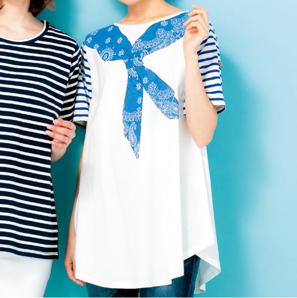 画像1: バンダナプリントTシャツ 白 (1)
