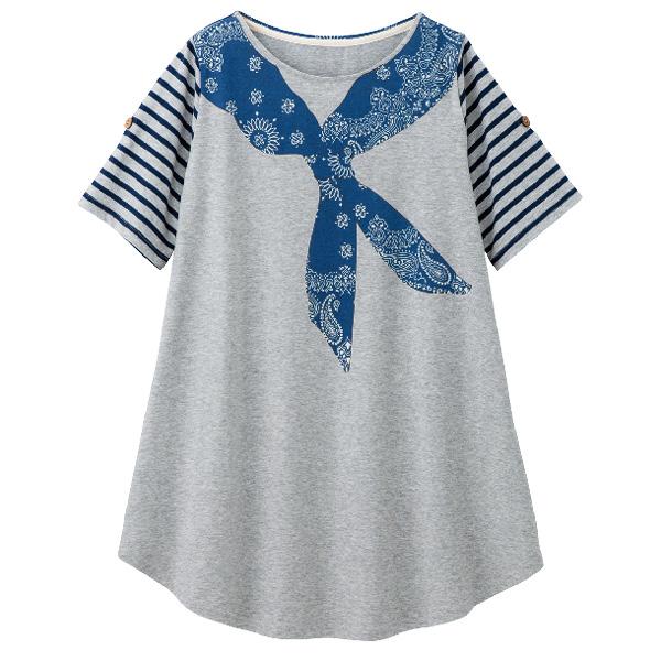 画像1: バンダナプリントTシャツ グレー (1)