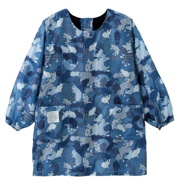 画像1: カモフラージュねこカッポウ  ブルー (1)