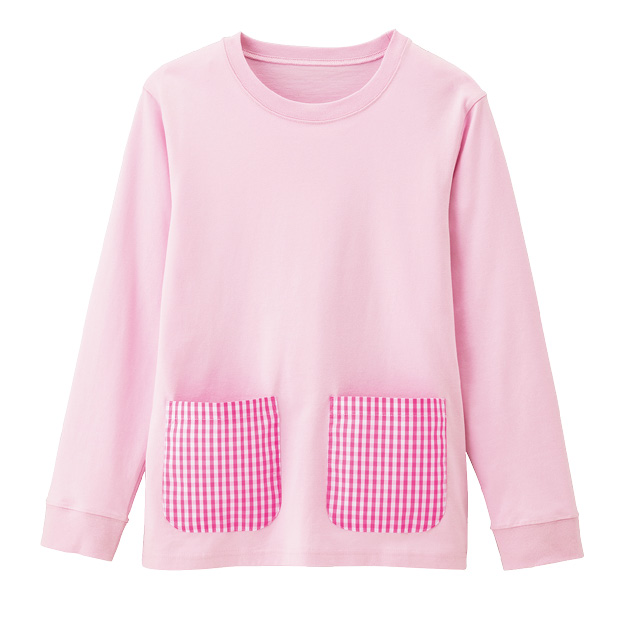 画像1: パステル長袖Tシャツ ピンク (1)