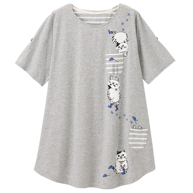 画像1: トラねこTシャツ グレー (1)