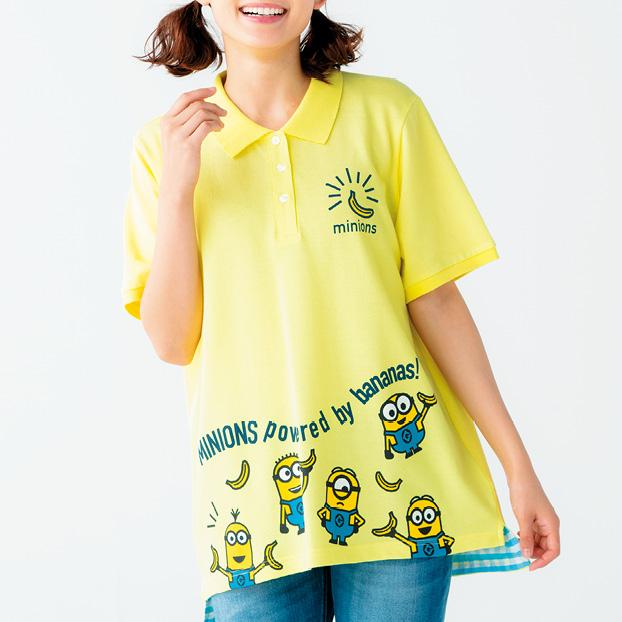 画像1: ミニオン切り替えギンガムポロシャツ (1)