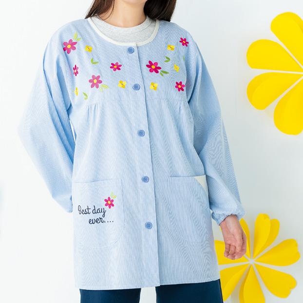 画像1: 小花刺しゅうスモック ブルー (1)