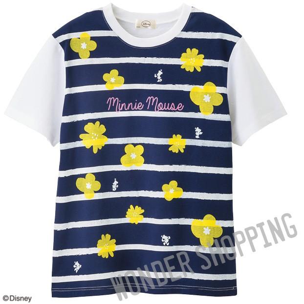 画像1: <ミニー>フラワーTシャツ 紺 まとめ買いできます (1)