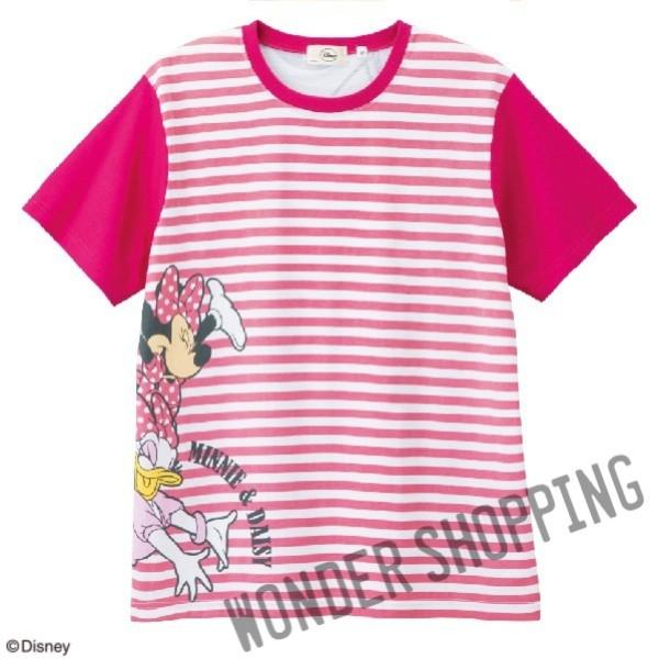 画像1: <ディズニーキャラクター>ボーダーTシャツ ミニー&デイジー Lのみ (1)