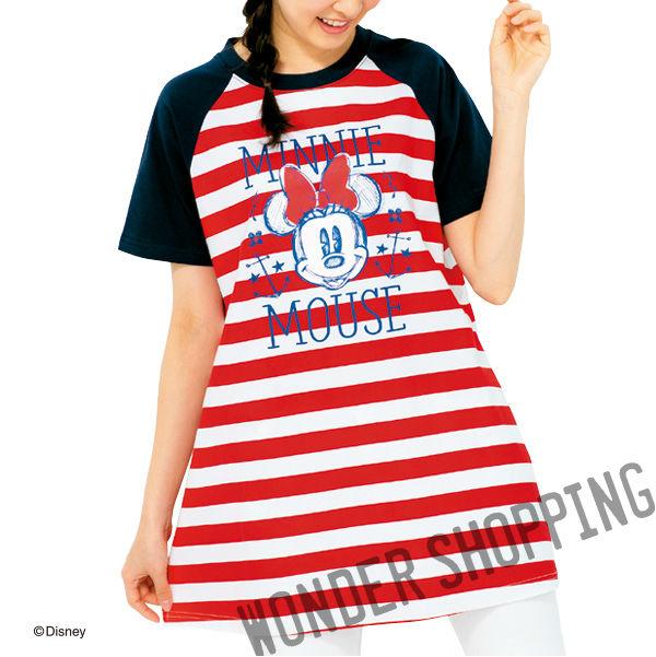 画像1: <ミニー>ボーダーロングTシャツ * (1)
