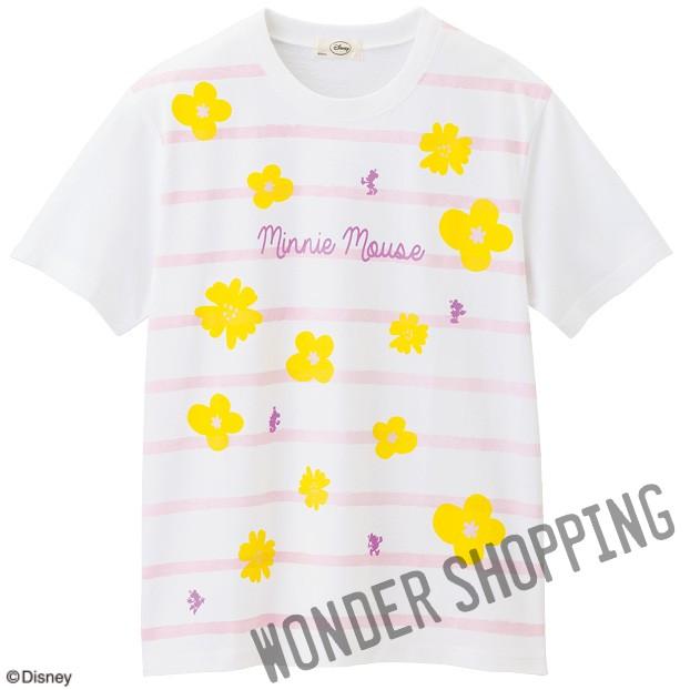 画像1: <ミニー>フラワーTシャツ 白 (1)