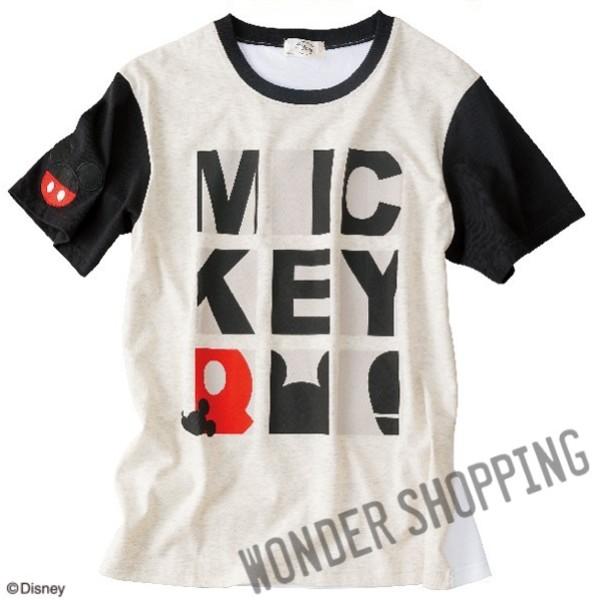 画像1: <ディズニーキャラクター>ロゴTシャツ ミッキー・グレー (1)